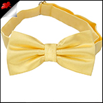 Mens Light Gold Yellow Plain Bow Tie