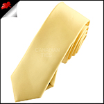 Mens Light Gold Yellow Plain Skinny Tie