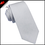 Light Silver Grey Ribbed 6cm Mens Slim Tie