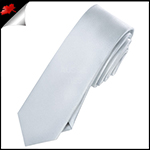 Mens Light Silver Grey Skinny Necktie