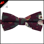 Maroon with Red & White Floral Pattern Bow Tie