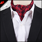 Men's Black & Red Filigree Ascot Cravat