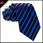 Black with Blue and Light Blue Stripes Mens Necktie