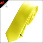 Mens Bright Daffodil Yellow Plain Skinny Tie