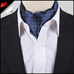 Men's Navy with Light Blue Polka Dots Ascot Cravat