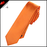 Mens Orange Plain Skinny Tie