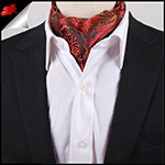 Men's Red, Black & Yellow Paisley Ascot Cravat