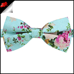 Mint with Floral Pattern Bow Tie