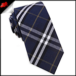Navy Blue, Black, White & Gold Tartan Plaid Slim Tie