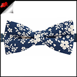 Navy Blue with White Floral Pattern Bow Tie