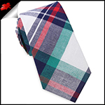 Navy, Green, Red & White Tartan Plaid Slim Tie