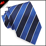 Navy, Royal Blue & White Stripes Mens Tie