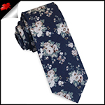 Navy with Dusky Pink & White Floral Pattern Skinny Tie
