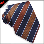 Orange, Black & White Stripes Mens Tie