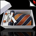 Orange, Black & White Stripes Tie Set