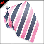 Pink, Dark Grey and White Stripes Mens Tie