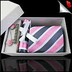 Pink, Dark Grey and White Stripes Tie Set