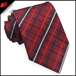 Red, Black and White Plaid Mens Tie