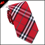 Red & White Tartan Plaid Slim Tie