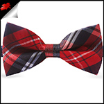 Red, Black & White Plaid Tartan Bow Tie