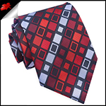 Red & Grey Retro Squares Mens Tie