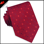 Red with Red and Burgundy Blocks Pattern Mens Tie