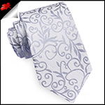 Silver Floral with Highlights Mens Necktie