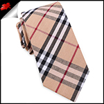 Tan, Red & White Tartan Plaid Slim Tie