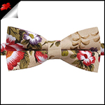 Tan with Multicoloured Floral Pattern Bow Tie