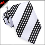 White with Black Rail Stripes Mens Tie