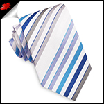 White with Blue, Grey and White Stripes Mens Tie
