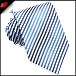 White with Dark & Light Blue Thin Stripes Mens Tie