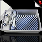 White with Dark & Light Blue Thin Stripes Tie Set