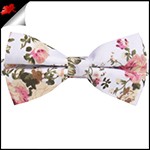 White with Floral Pattern Bow Tie