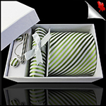 White with Green & Olive Stripes Mens Tie Set