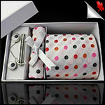 White with Orange, Black, Red and Pink Polkadots Tie Set