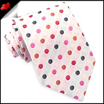 White with Orange, Black, Red and Pink Polkadots Mens Tie