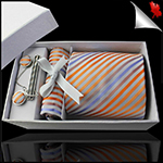 White with Orange, Coral & Lavender Stripes Tie Set