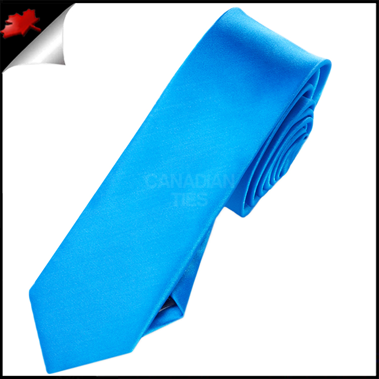 mens cobalt blue plain skinny necktie canadian ties