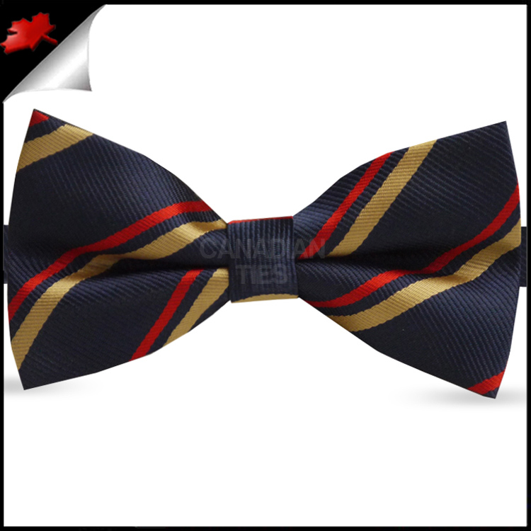 ae8a78e657ec Navy Blue with Red & Gold Stripes Bow Tie- Canadian Ties